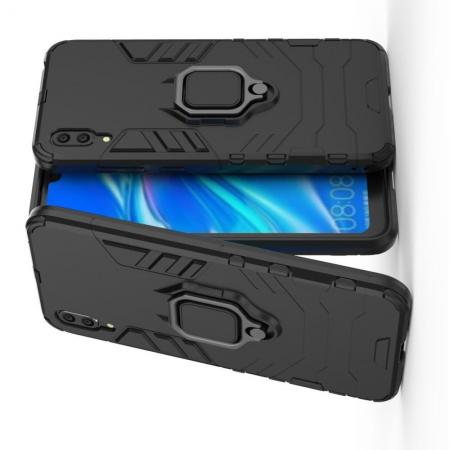 Двухслойный гибридный противоударный чехол с кольцом для пальца подставкой для Huawei Y7 Pro 2019 Черный