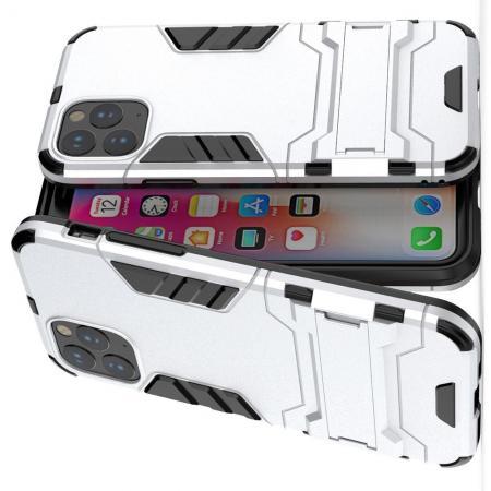 Двухслойный гибридный противоударный чехол с кольцом для пальца подставкой для iPhone 11 Pro Серебряный