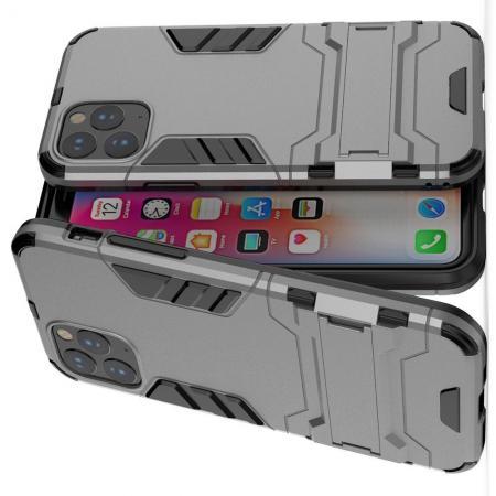 Двухслойный гибридный противоударный чехол с кольцом для пальца подставкой для iPhone 11 Pro Серый