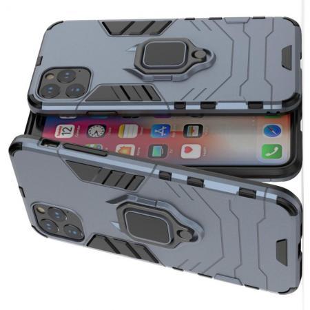 Двухслойный гибридный противоударный чехол с кольцом для пальца подставкой для iPhone 11 Pro Синий