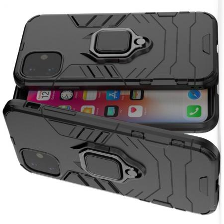 Двухслойный гибридный противоударный чехол с кольцом для пальца подставкой для iPhone 11 Черный