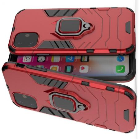Двухслойный гибридный противоударный чехол с кольцом для пальца подставкой для iPhone 11 Красный