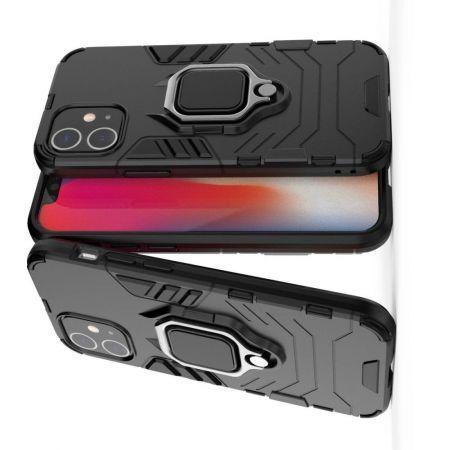 Двухслойный гибридный противоударный чехол с кольцом для пальца подставкой для iPhone 12 mini Черный