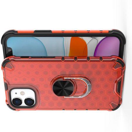 Двухслойный гибридный противоударный чехол с кольцом для пальца подставкой для iPhone 12 mini Красный