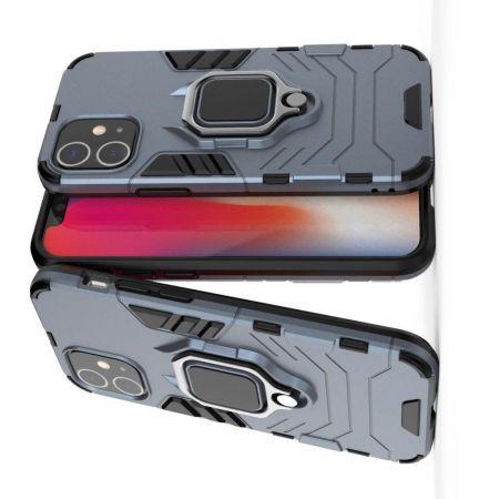 Двухслойный гибридный противоударный чехол с кольцом для пальца подставкой для iPhone 12 Pro 6.1 / Max 6.1 Синий