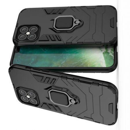 Двухслойный гибридный противоударный чехол с кольцом для пальца подставкой для iPhone 12 Pro Max 6.7 Черный