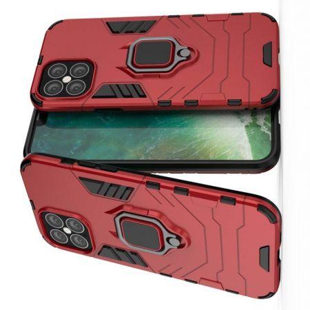 Двухслойный гибридный противоударный чехол с кольцом для пальца подставкой для iPhone 12 Pro Max 6.7 Красный