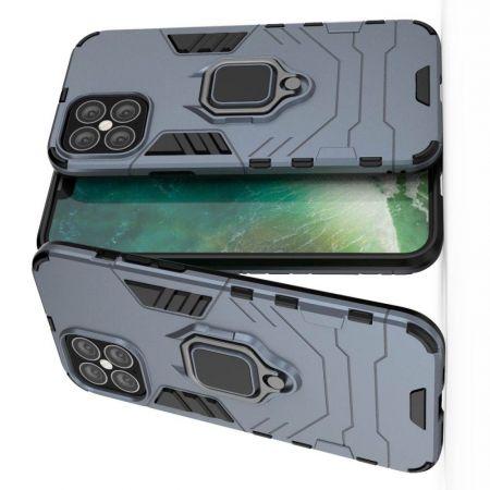 Двухслойный гибридный противоударный чехол с кольцом для пальца подставкой для iPhone 12 Pro Max 6.7 Синий