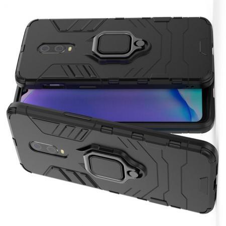 Двухслойный гибридный противоударный чехол с кольцом для пальца подставкой для OnePlus 7 Черный