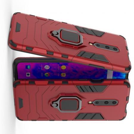 Двухслойный гибридный противоударный чехол с кольцом для пальца подставкой для OnePlus 7 Pro Красный