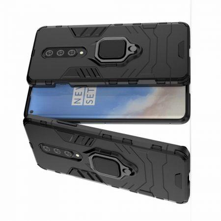 Двухслойный гибридный противоударный чехол с кольцом для пальца подставкой для OnePlus 8 Черный