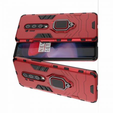 Двухслойный гибридный противоударный чехол с кольцом для пальца подставкой для OnePlus 8 Pro Красный
