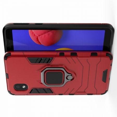 Двухслойный гибридный противоударный чехол с кольцом для пальца подставкой для Samsung Galaxy A01 Core Красный