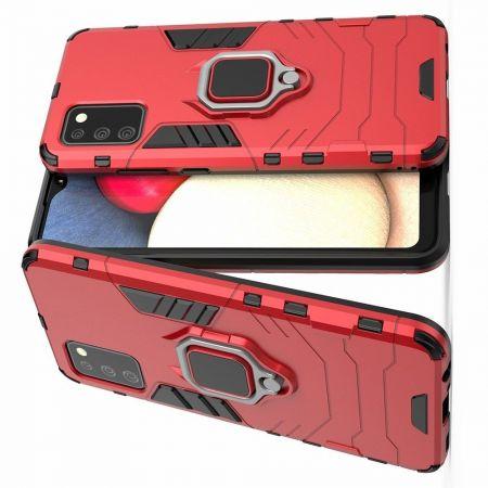 Двухслойный гибридный противоударный чехол с кольцом для пальца подставкой для Samsung Galaxy A02s Красный