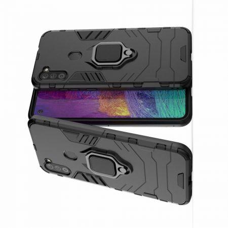 Двухслойный гибридный противоударный чехол с кольцом для пальца подставкой для Samsung Galaxy A11 Черный