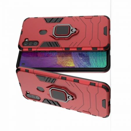 Двухслойный гибридный противоударный чехол с кольцом для пальца подставкой для Samsung Galaxy A11 Красный