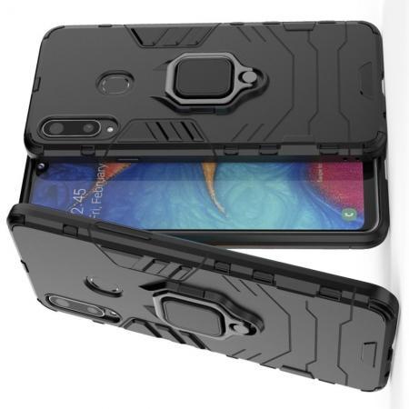 Двухслойный гибридный противоударный чехол с кольцом для пальца подставкой для Samsung Galaxy A20s Черный