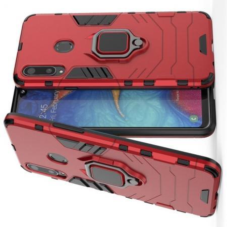 Двухслойный гибридный противоударный чехол с кольцом для пальца подставкой для Samsung Galaxy A20s Красный
