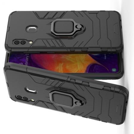 Двухслойный гибридный противоударный чехол с кольцом для пальца подставкой для Samsung Galaxy A30 / A20 Черный