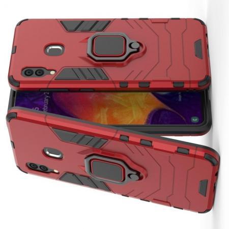 Двухслойный гибридный противоударный чехол с кольцом для пальца подставкой для Samsung Galaxy A30 / A20 Красный