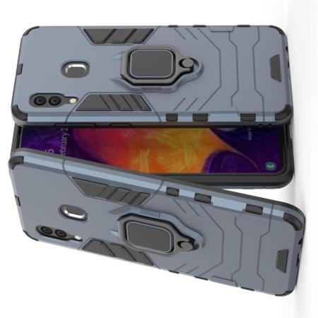Двухслойный гибридный противоударный чехол с кольцом для пальца подставкой для Samsung Galaxy A30 / A20 Серый
