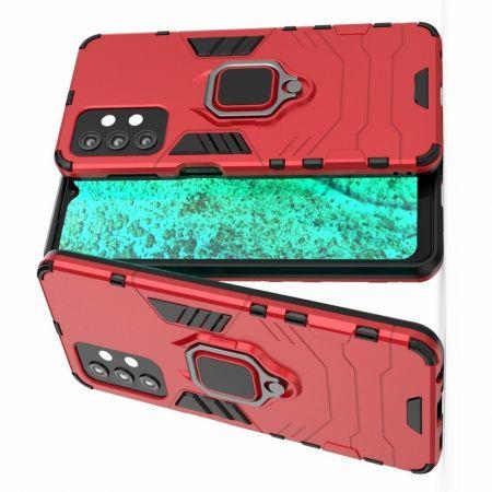 Двухслойный гибридный противоударный чехол с кольцом для пальца подставкой для Samsung Galaxy A32 Красный