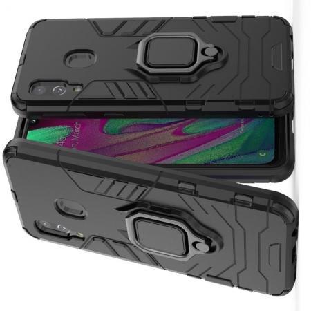 Двухслойный гибридный противоударный чехол с кольцом для пальца подставкой для Samsung Galaxy A40 Черный
