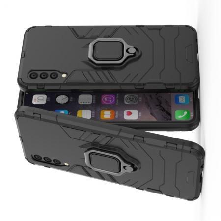 Двухслойный гибридный противоударный чехол с кольцом для пальца подставкой для Samsung Galaxy A50 Черный