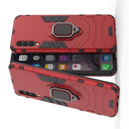 Двухслойный гибридный противоударный чехол с кольцом для пальца подставкой для Samsung Galaxy A50 Красный