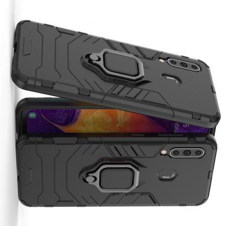 Двухслойный гибридный противоударный чехол с кольцом для пальца подставкой для Samsung Galaxy A60 Черный