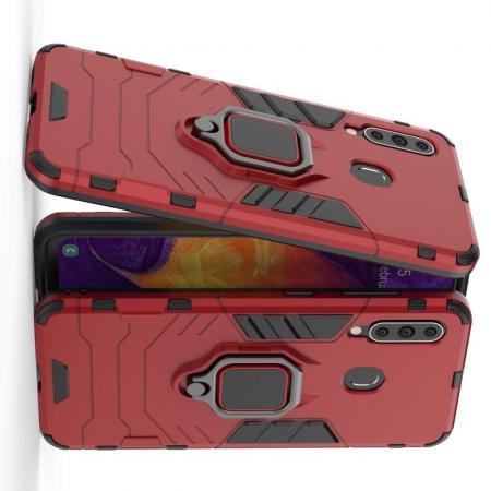 Двухслойный гибридный противоударный чехол с кольцом для пальца подставкой для Samsung Galaxy A60 Красный