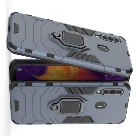 Двухслойный гибридный противоударный чехол с кольцом для пальца подставкой для Samsung Galaxy A60 Синий