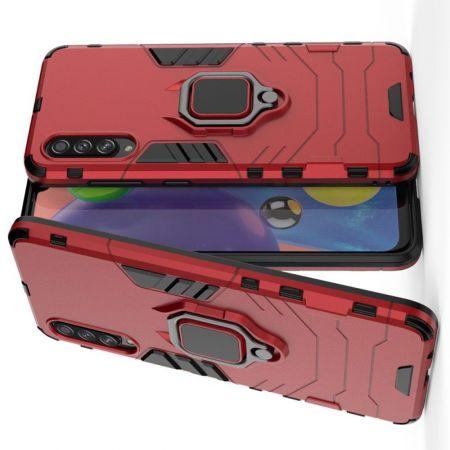 Двухслойный гибридный противоударный чехол с кольцом для пальца подставкой для Samsung Galaxy A70s Красный