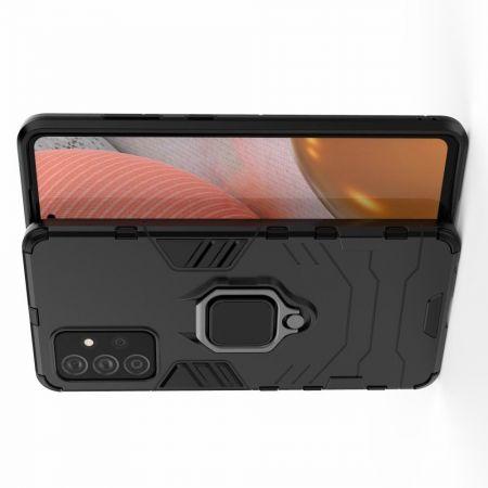 Двухслойный гибридный противоударный чехол с кольцом для пальца подставкой для Samsung Galaxy A72 Черный