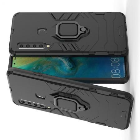 Двухслойный гибридный противоударный чехол с кольцом для пальца подставкой для Samsung Galaxy A9 2018 SM-A920F Черный