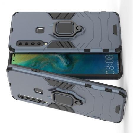 Двухслойный гибридный противоударный чехол с кольцом для пальца подставкой для Samsung Galaxy A9 2018 SM-A920F Серый