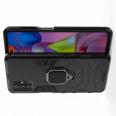 Двухслойный гибридный противоударный чехол с кольцом для пальца подставкой для Samsung Galaxy M51 Черный