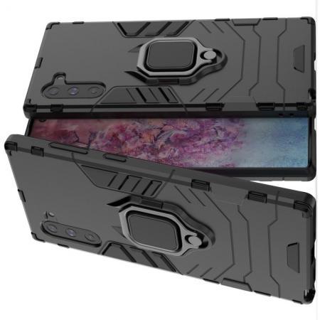 Двухслойный гибридный противоударный чехол с кольцом для пальца подставкой для Samsung Galaxy Note 10 Черный