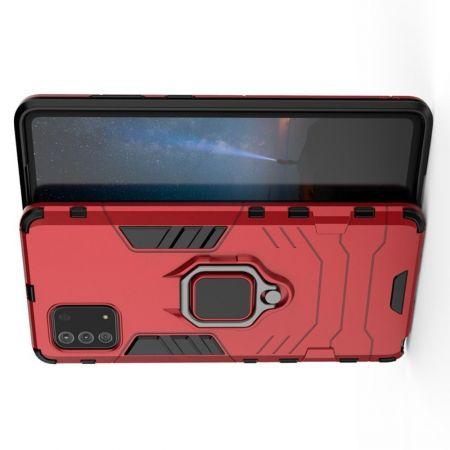 Двухслойный гибридный противоударный чехол с кольцом для пальца подставкой для Samsung Galaxy Note 10 Lite Красный
