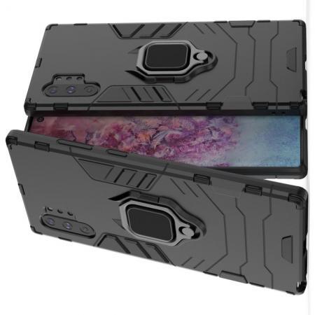 Двухслойный гибридный противоударный чехол с кольцом для пальца подставкой для Samsung Galaxy Note 10 Plus Черный