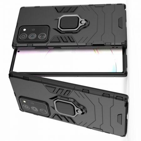 Двухслойный гибридный противоударный чехол с кольцом для пальца подставкой для Samsung Galaxy Note 20 Ultra Черный