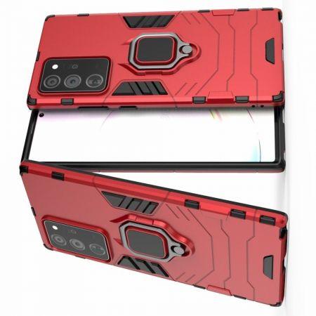 Двухслойный гибридный противоударный чехол с кольцом для пальца подставкой для Samsung Galaxy Note 20 Ultra Красный