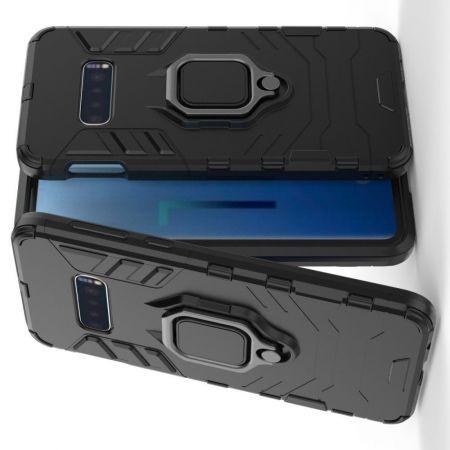 Двухслойный гибридный противоударный чехол с кольцом для пальца подставкой для Samsung Galaxy S10 Lite Черный