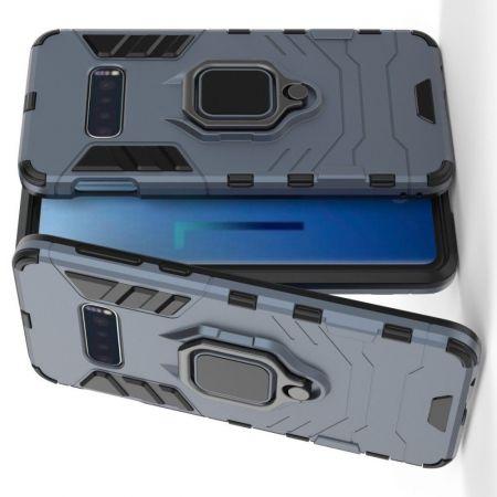 Двухслойный гибридный противоударный чехол с кольцом для пальца подставкой для Samsung Galaxy S10 Lite Синий
