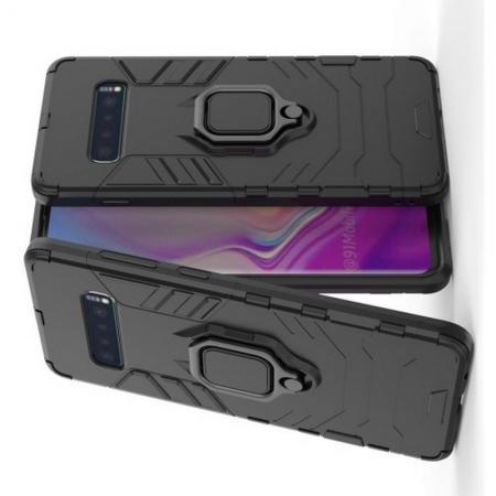 Двухслойный гибридный противоударный чехол с кольцом для пальца подставкой для Samsung Galaxy S10 Plus Черный