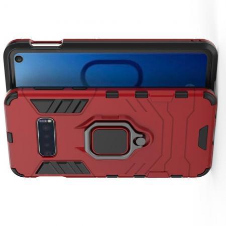 Двухслойный гибридный противоударный чехол с кольцом для пальца подставкой для Samsung Galaxy S10e Красный