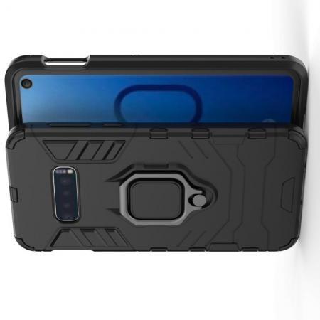 Двухслойный гибридный противоударный чехол с кольцом для пальца подставкой для Samsung Galaxy S10e Черный