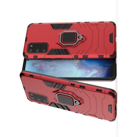 Двухслойный гибридный противоударный чехол с кольцом для пальца подставкой для Samsung Galaxy S20 Красный
