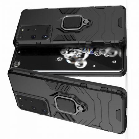 Двухслойный гибридный противоударный чехол с кольцом для пальца подставкой для Samsung Galaxy S21 Ultra Черный