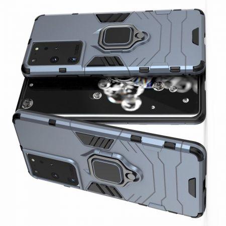 Двухслойный гибридный противоударный чехол с кольцом для пальца подставкой для Samsung Galaxy S21 Ultra Синий